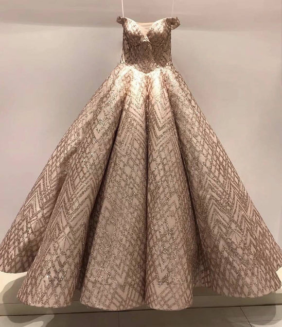 Off shoulder rose gold glitter fabric sparking ball gown prom dress