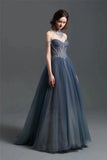 spaghetti straps dusty blue black pink and brown tulle prom dress - Anna's Couture Dresses