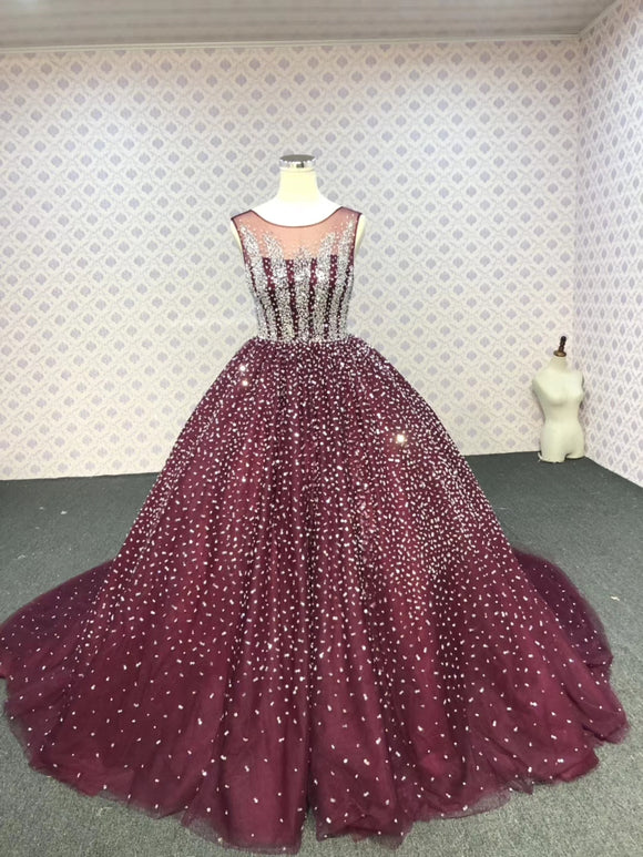 Sliver crystals beaded dark red ball skirt prom quinceanera dresses 2020 - Anna's Couture Dresses