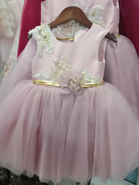 Little baby girls tutu birthday party dusty pink flower girl dresses - Anna's Couture Dresses