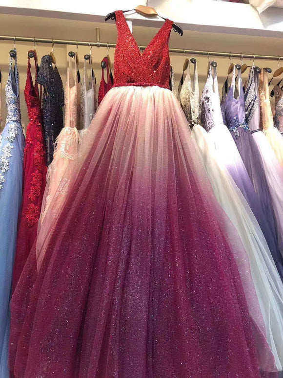 Sparking glitter chic gradient red blue gray prom event dress 2020