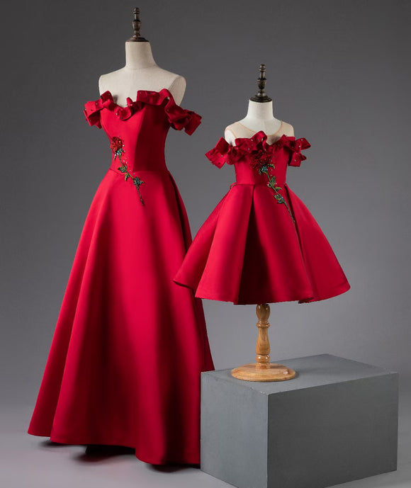 Chraming floral red mother and the daughter dresses 2020