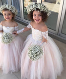 Adorable lace appliques little flower girls dress with ivory champagne dusty pink color