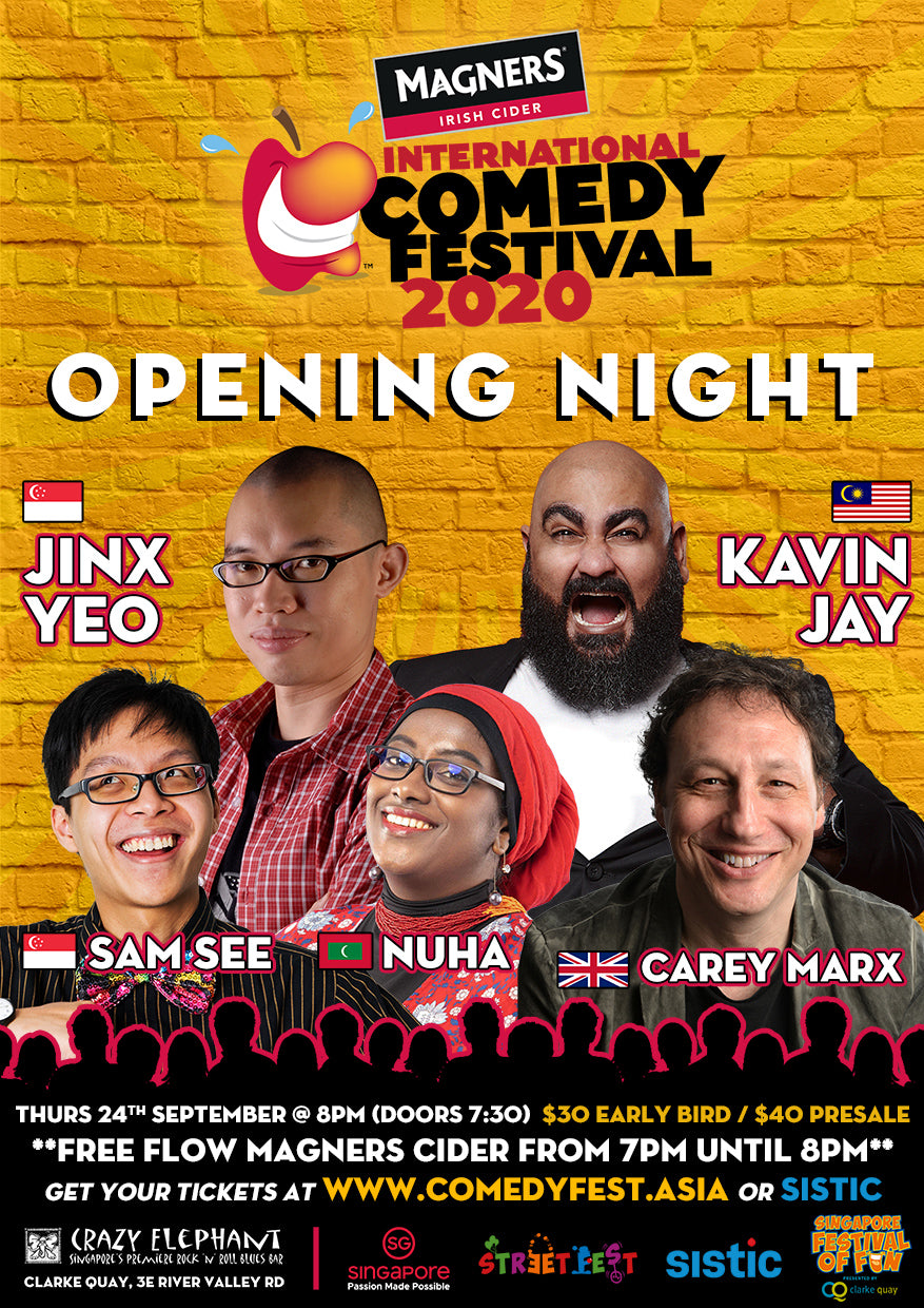 24 Sep - 8.00pm - MICF Opening Night ft. Kavin Jay, Jinx Yeo, Matt Chalmers, Nuha & host Sam See!