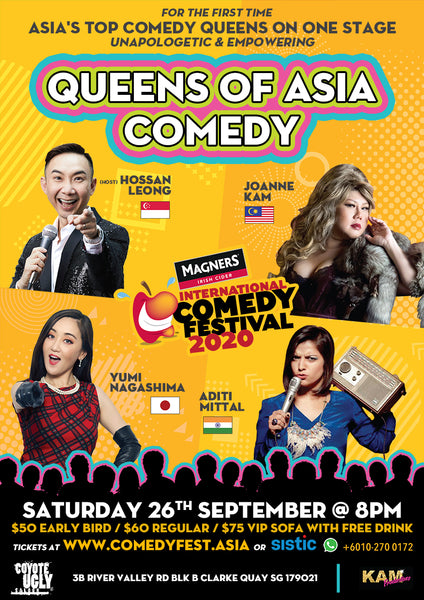 [POSTPONED] 21 Mar - 8.00PM - Queens of Asia Comedy Special ft. Aditi Mittal, Joanne Kam, Yumi Nagashima, and Hossan Leong!