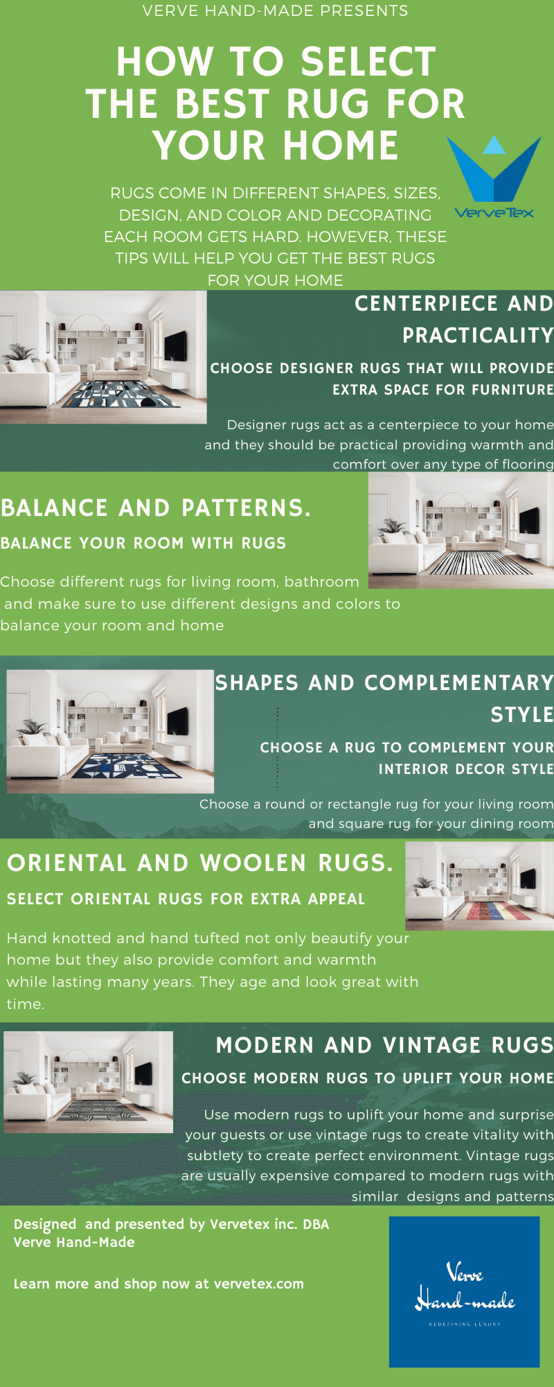 Infographic on how to select the best rug for your home by verve hand-made
