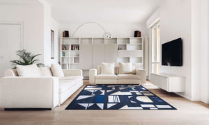 blue handmade rug by verve hand-made
