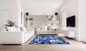 Verve Hand-Made Blue and White Escherian Eye Hand Made Rug
