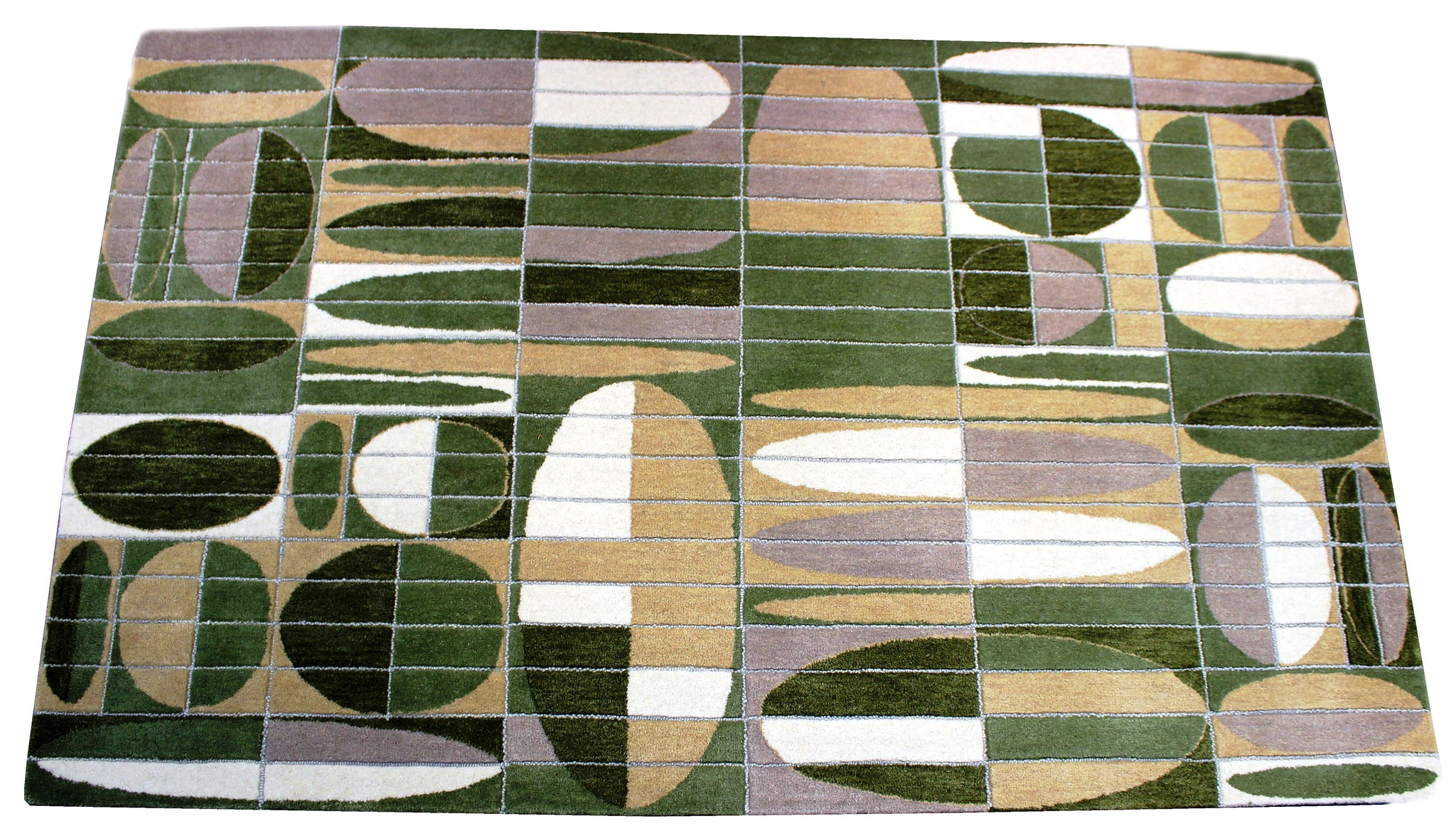 green handmade rug by verve hand-made