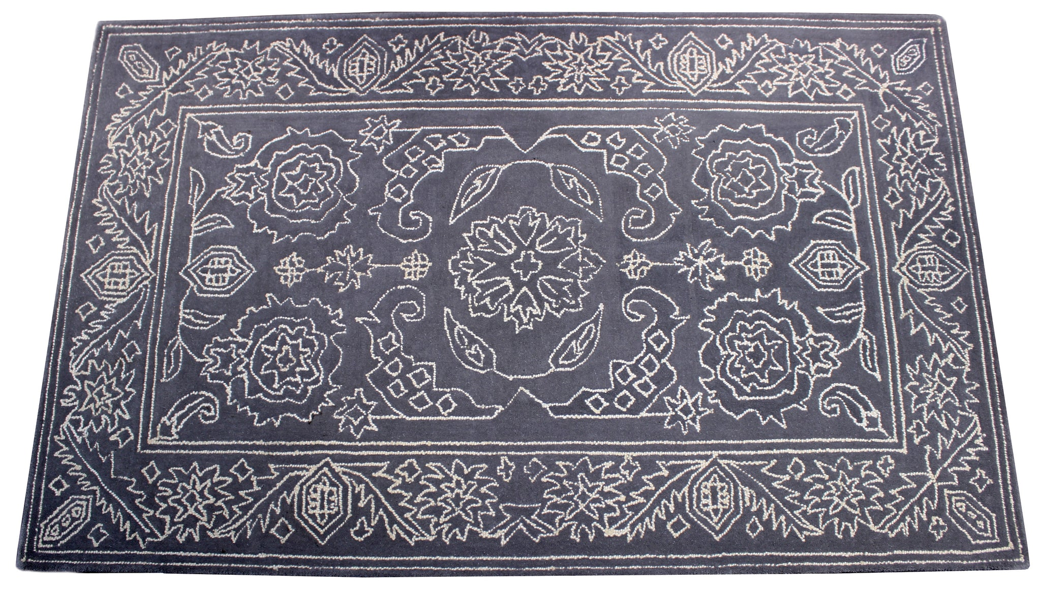 Gray flower handmade rug by verve hand-made