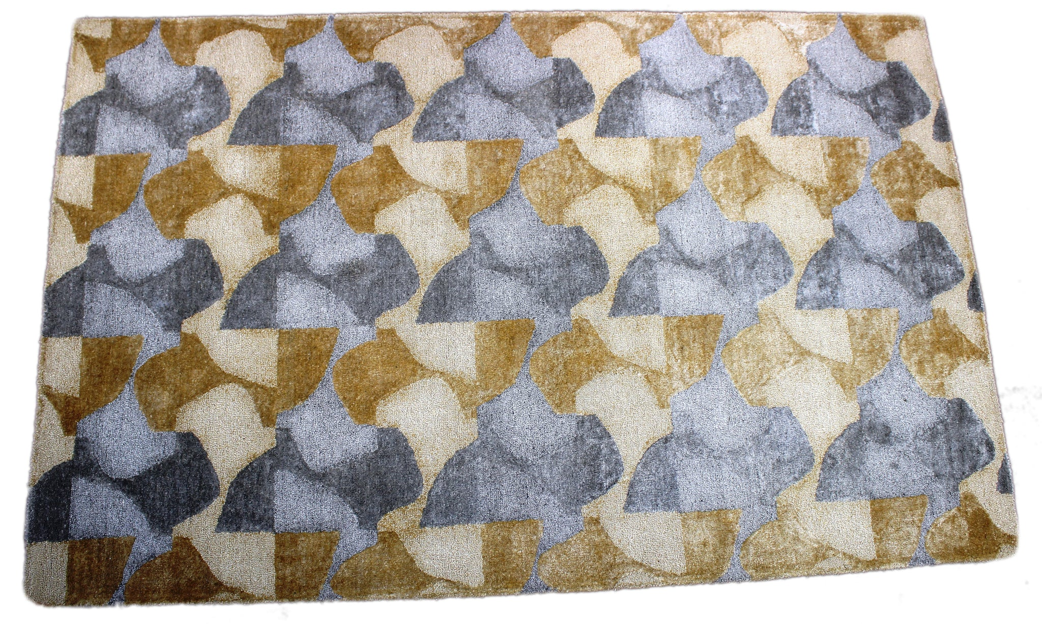 gold and gray handmade rug by verve hand-made