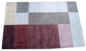 maroon and pink handmade area rug by verve hand-made