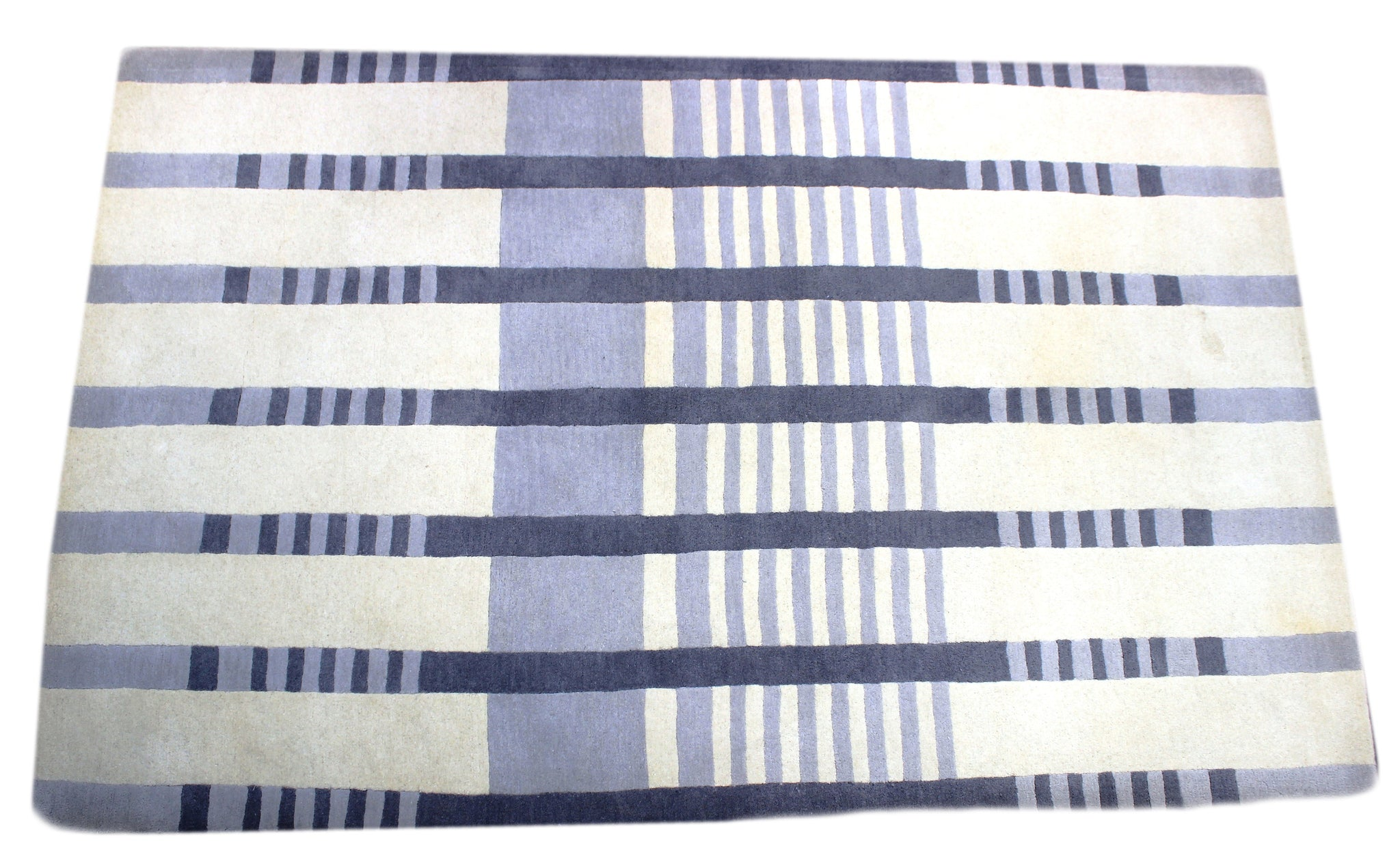 Silver and blue checkered handmade area rug by verve hand-made