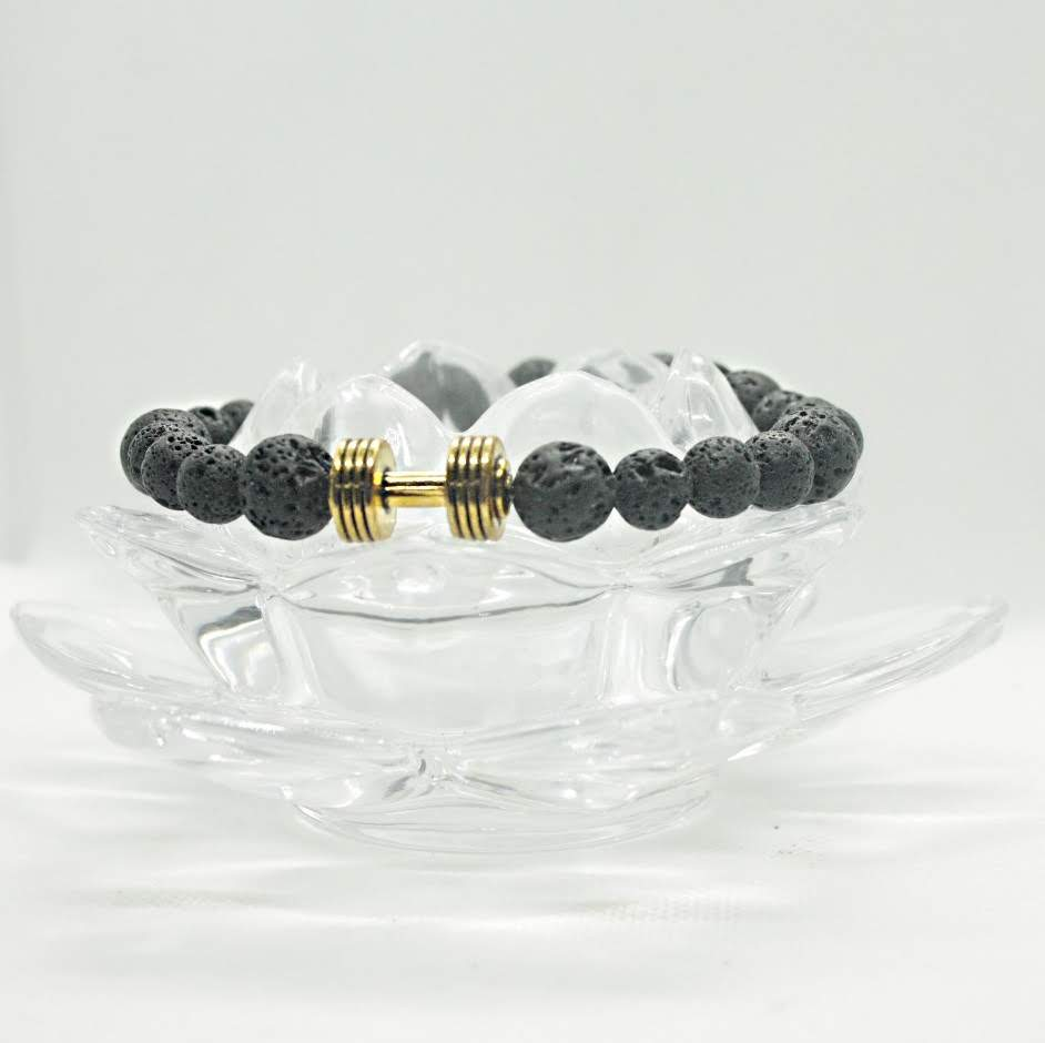 Be Strong Dumbbell lava stone bracelet
