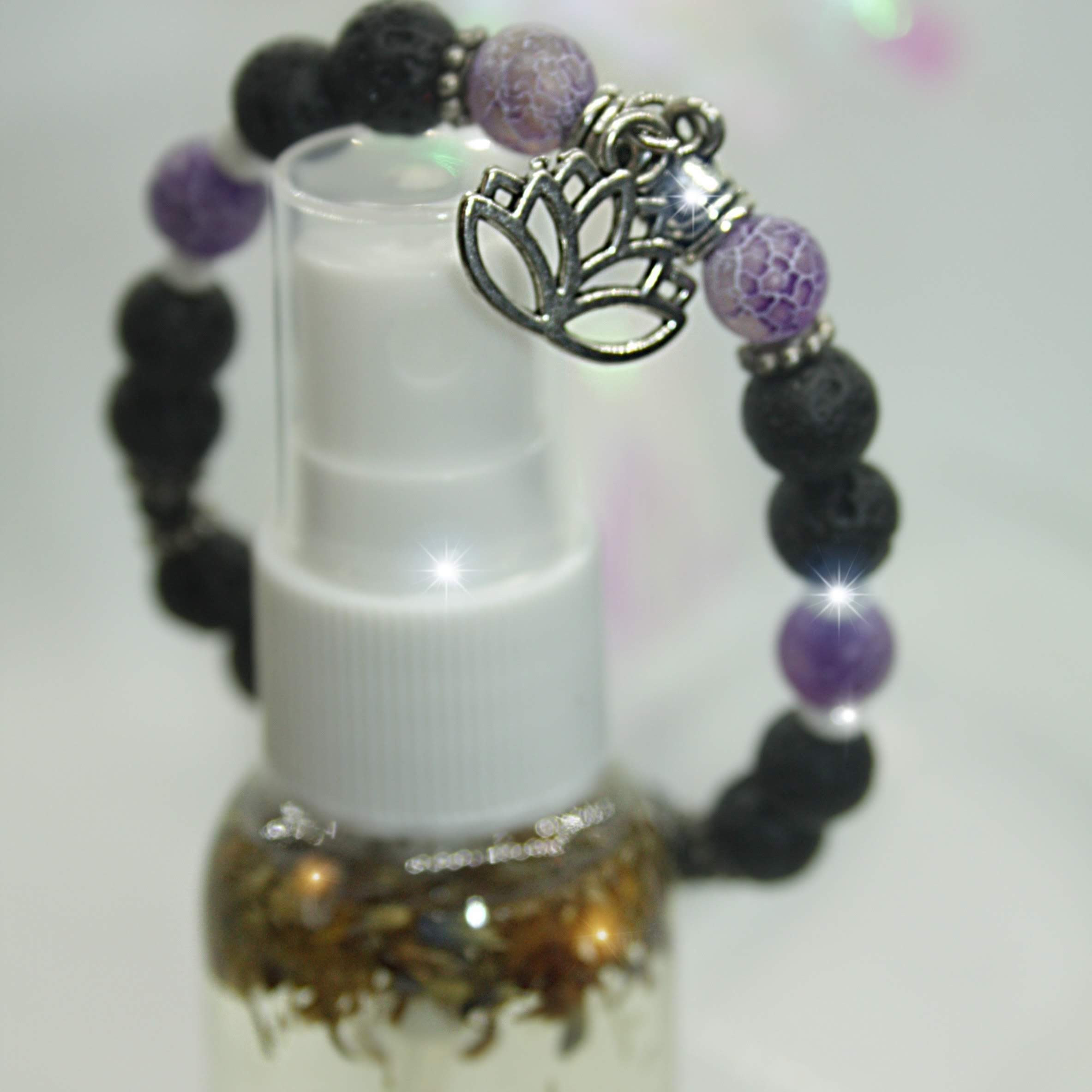 Lotus rebirth lava stone and agate
