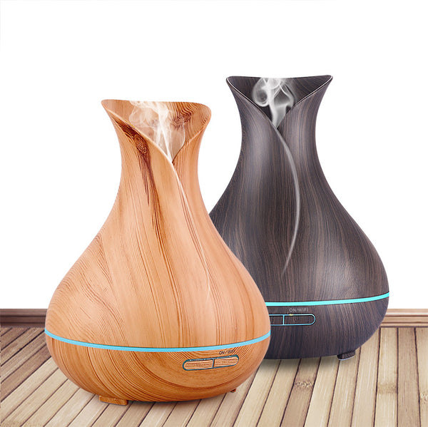 Smart Wood Ultrasonic Essential Air Humidifier/ Essential Oil Diffuser With Wifi