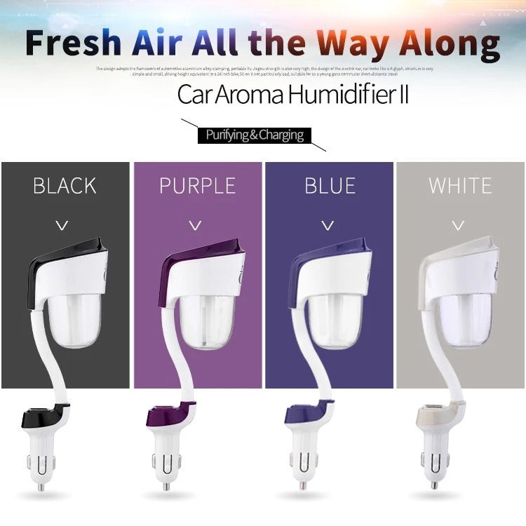Dual Usb Air Purifier  Car Humidifier With Aroma Diffuser