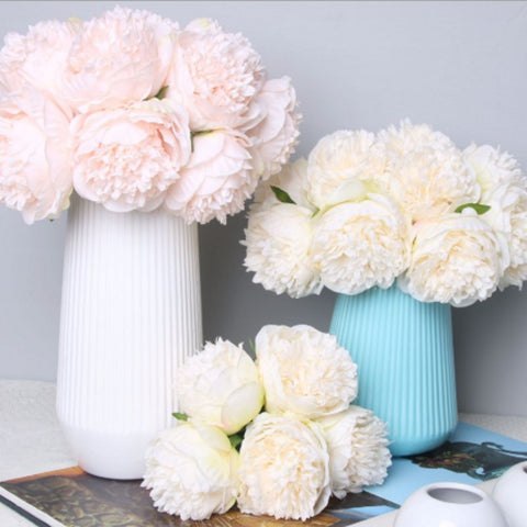 5pc Big Peony Artifcial Silk Flower Wedding Bouquet