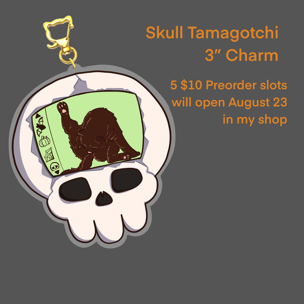 "Skull and Black Cat Tamagotchi 3"" Charm"