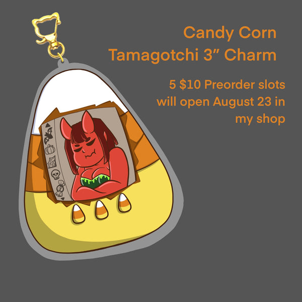 "Candy Corn and Demon Girl Tamagotchi 3"" Charm"