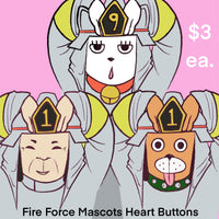 Fire Force Mascots Heart Button