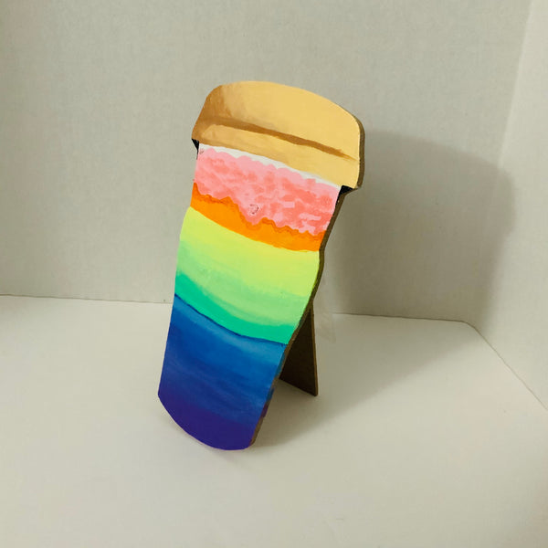 Rainbow Latte Wooden, Easel-Type Standee