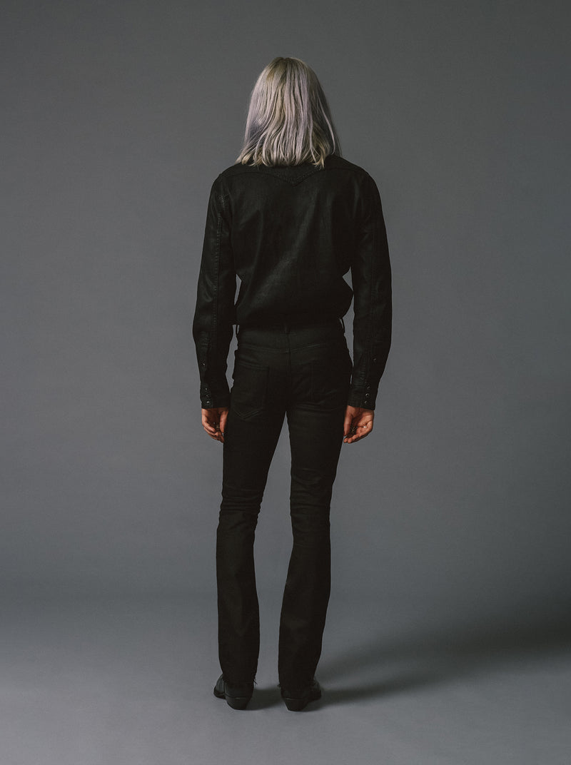 Black Raw Western Denim Unhemmed