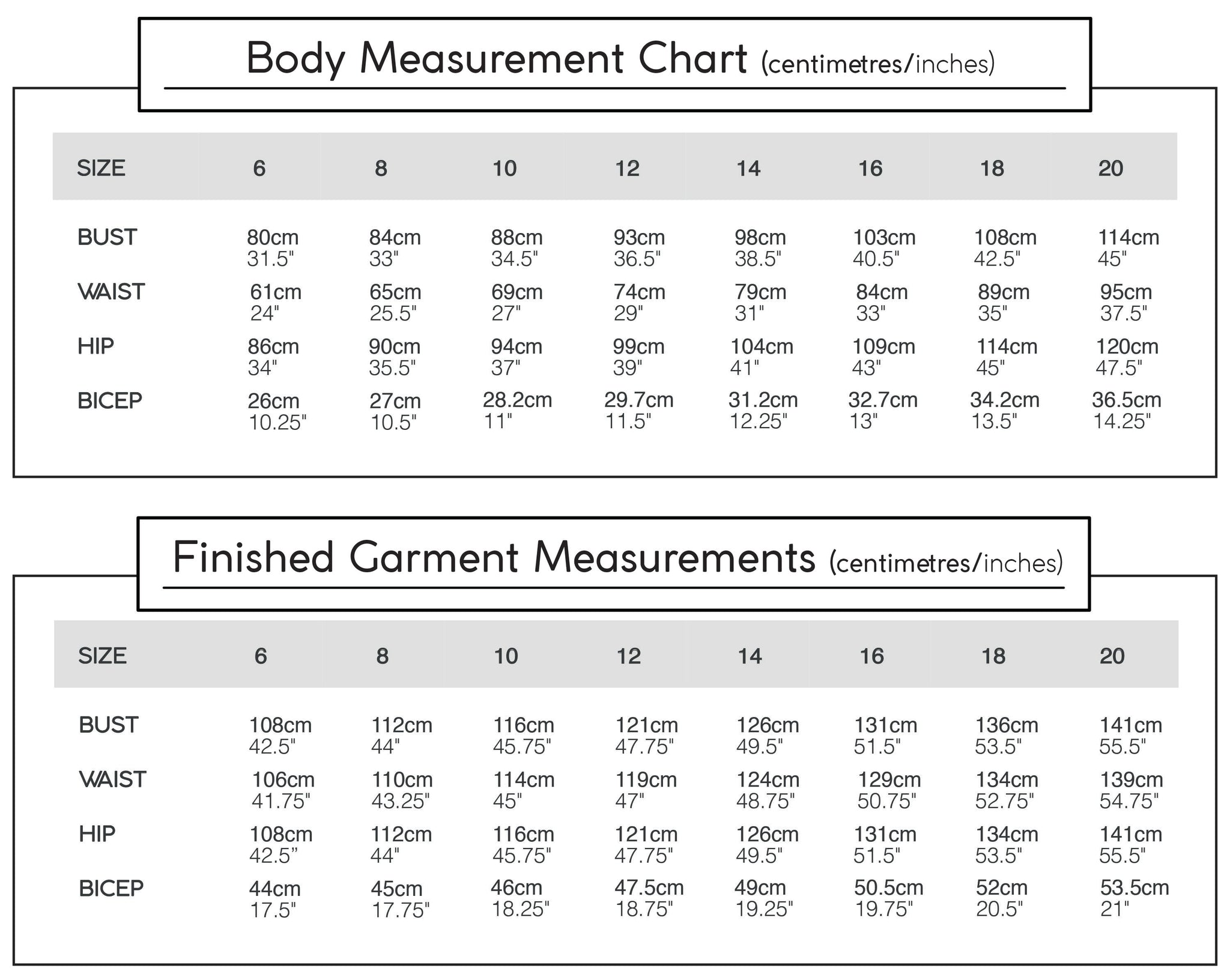 olya shirt finished measurements chart