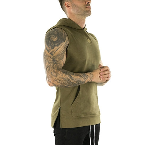 Sleeveless Tech Hoodie (Military Green)