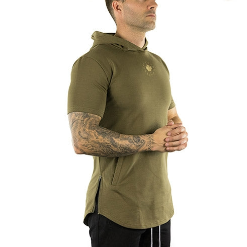 Short Sleeve Tech Hoodie (Military Green)