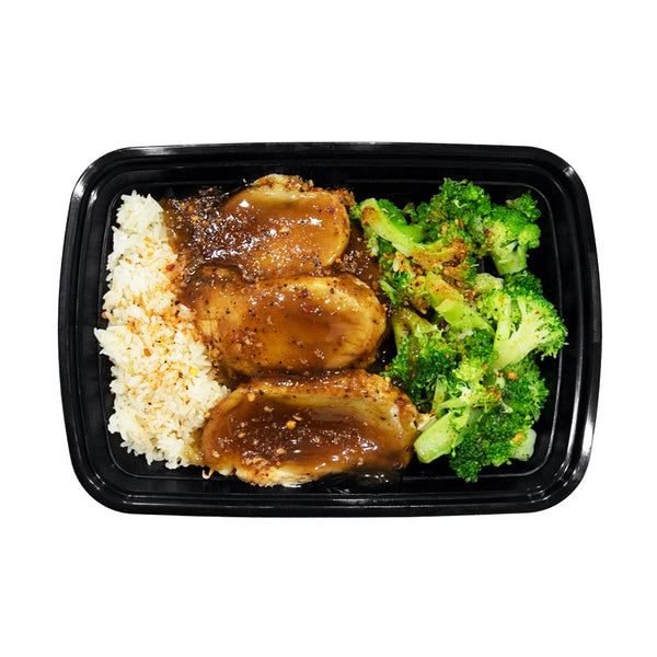 Honey Garlic Chicken, Lemon Garlic Broccoli & Jasmine Rice