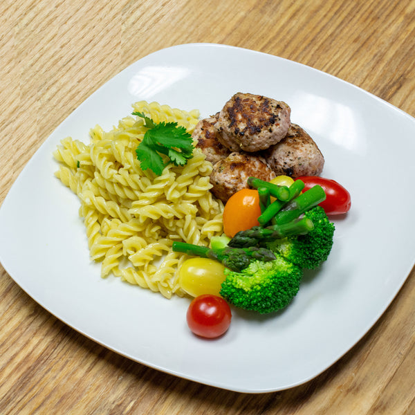 Turkey Meatballs with Garlic Rotini Pasta