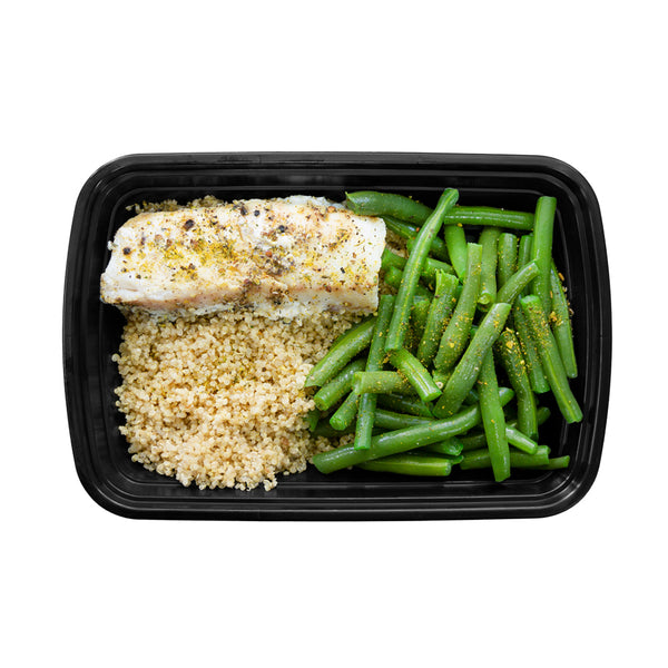 Lemon & Garlic Cod with Herbed Quinoa and Sautéed Green Beans