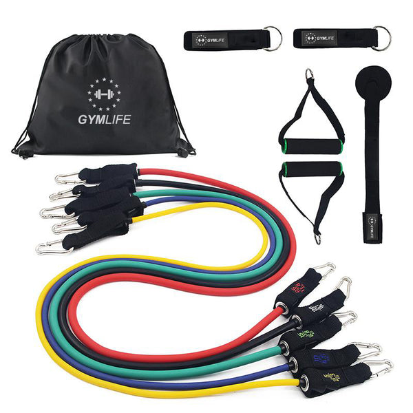 11 Piece Resistance Band Set with Handles and Door Anchor