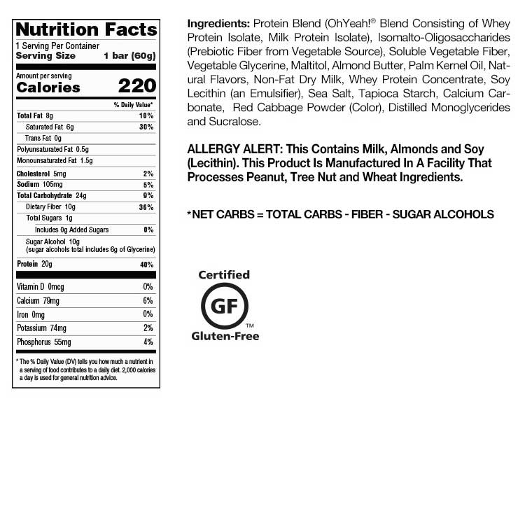 Blueberry Cobbler OhYeah! One Bar Nutrition Facts