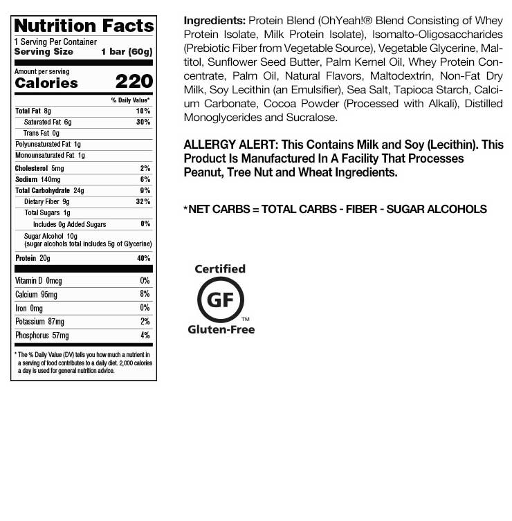 Maple Glazed Donut OhYeah! One Bar Nutrition Facts