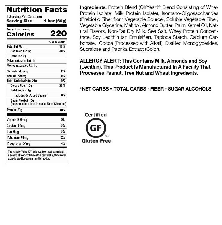 Salted Caramel OhYeah! One Bar Nutrition Facts