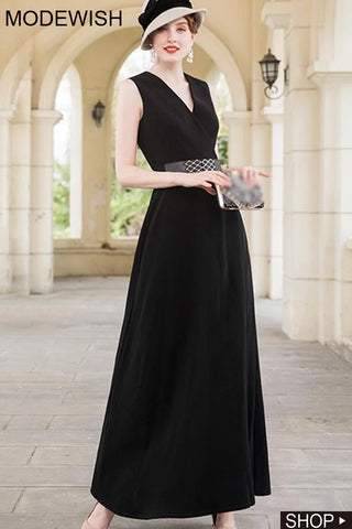 Black Gathered Waist V-Neck Sleeveless Maxi Dress Without Belt