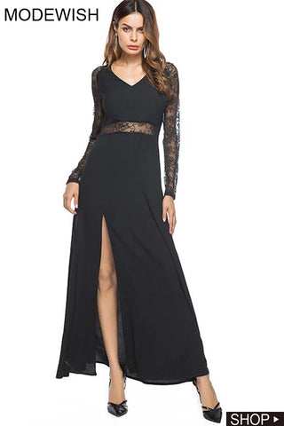 Black High Slit Perspective Stitching Lace Sexy Dress
