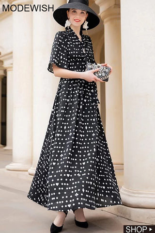 Black Polka Dot Print Half Sleeve Vintage Maxi Dress