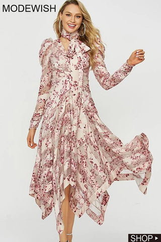 Bowknot Floral Print Ruffled Irregular High Waist Party Dress