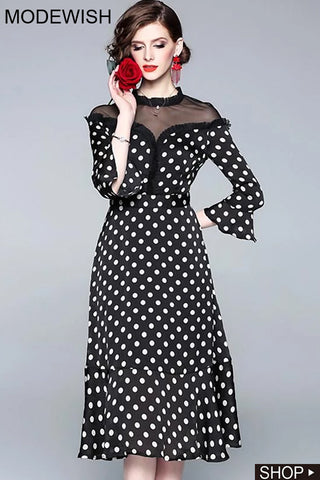 Brief Polka Dot O-Neck Stitching Lace Long Sleeve Dress