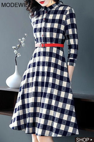 Chic Plaid Stitching Turn-Down Collar 3/4 Sleeve Single-Breasted Dress