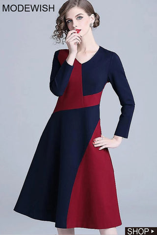 Elegant Hit Color Stitching Long Sleeve Slim Fit & Flare Dress