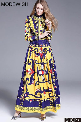 Ethnic Multicolor Ruffled Print Stand Collar Pleated Dress