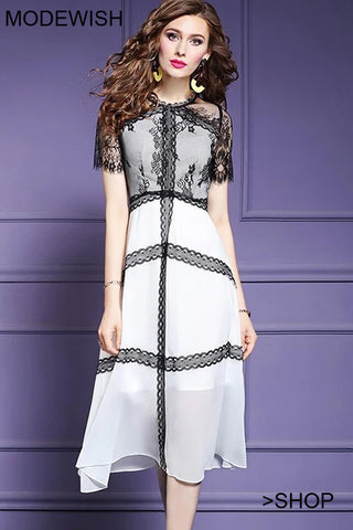 Fairy Perspective Lace Patchwork Slim A-Line Dress