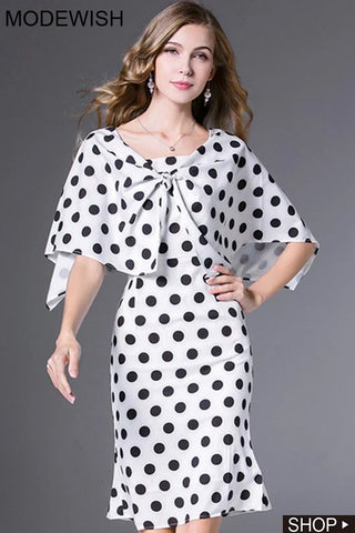 Fashion Polka Dot O-Neck Flare Sleeve Bodycon Dress