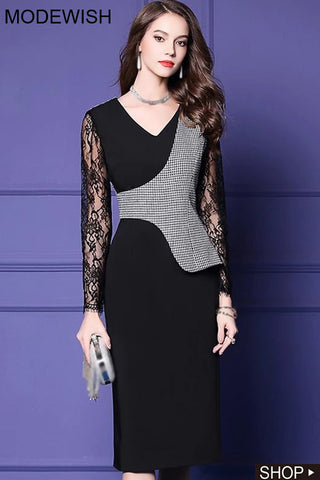 Houndstooth Lace Stitching Long Sleeve Bodycon Dress