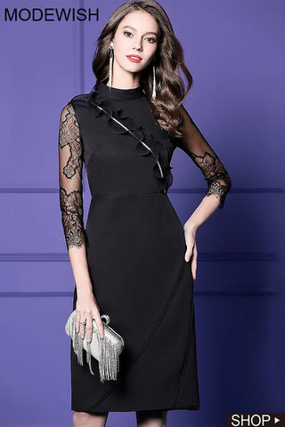 Lace Stitching Ruffled Stand Collar 3/4 Sleeve Slim One-Step Dress