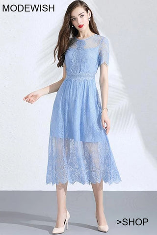 Light Blue Perspective Lace High Waist Fairy Skater Dress